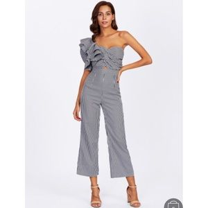 Pants - One Side Flounce Sleeve Twisted Striped Jumpsuit